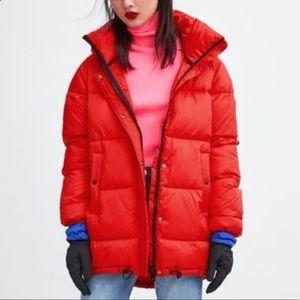 ZARA Red puffer coat